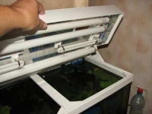 аквариум с самодельной крышкой из пластика