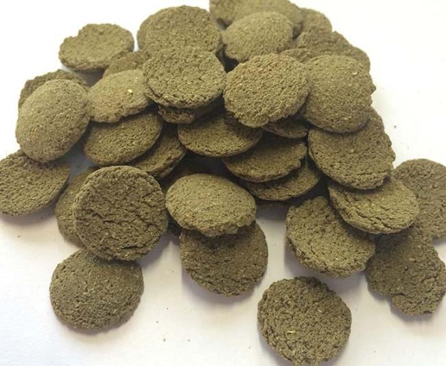 Сухие корма для аквариумных рыб в виде таблеток.
