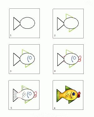 как нарисовать рыбку поэтапно